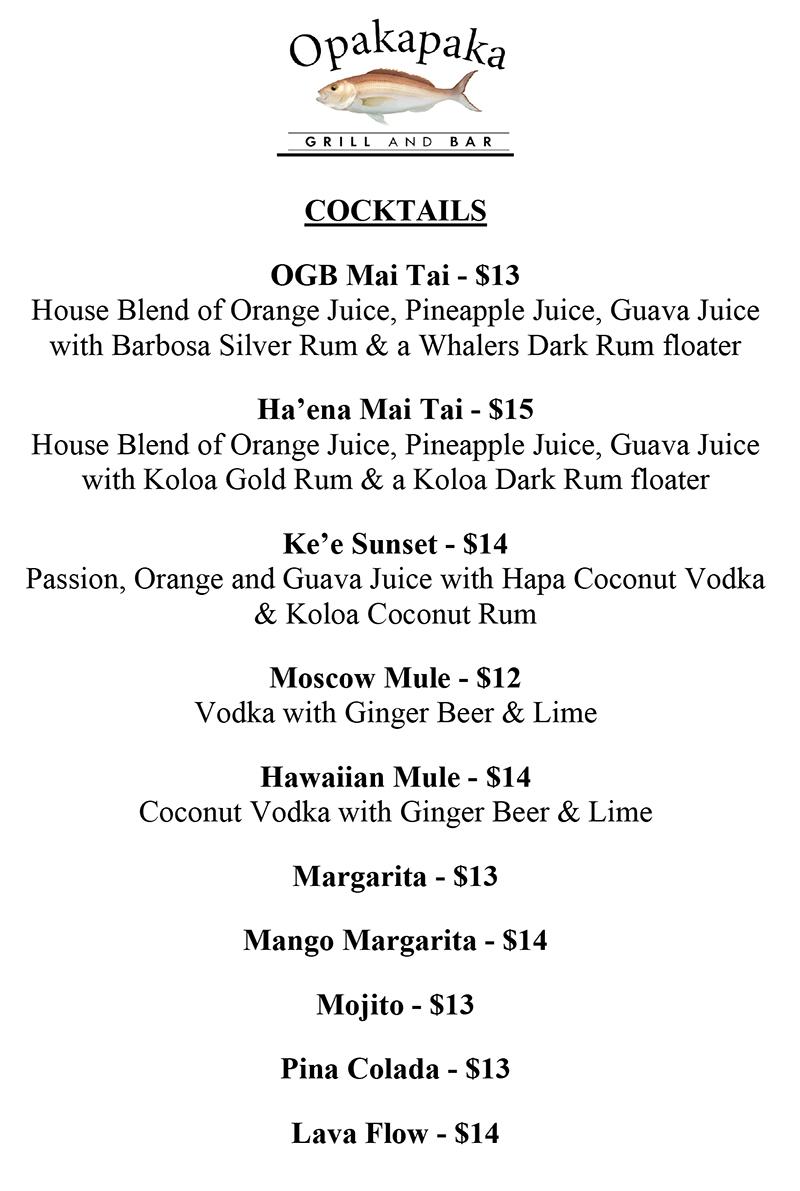 Opakapaka Beverage Cocktail Menu